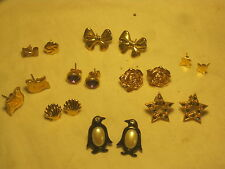 pre-owned 8 pair + earring lot vintage costume jewelry Penguin Star Avon Rose