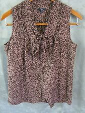 Gap Sleeveless Top Size Small Abstract Print Sheer Cotton & Silk Blouse Tie Neck