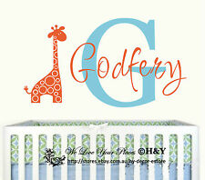 Custom Personalised Name Giraffe Animals Wall Stickers Kids Nursery Vinyl Decor