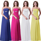 Women's Strapless Bridesmaid Long Evening Gown Formal Wedding Party Prom Dress