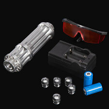 Military 1W 405nm Blue Laser Pointer Pen Power Beam Burn Cigarette + Glasses