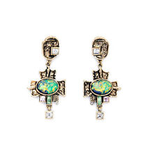 E2280 Colorful Gems Cryustal Lady Boutique Jewelry Vintage Gold Cross Earrings