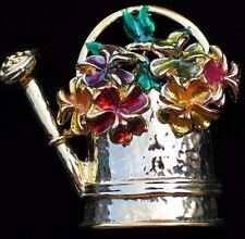 SUMMER TIME GARDEN GARDENING FLOWER POT WATERING CAN PIN BROOCH JEWELRY 2""