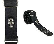 SUPER DELUXE metal diamond style skull Guitar Bass Strap black grey 3090 sparkle
