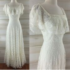 Vintage 60s 70s ivory lace long ruffled wedding dress hippie boho romantic XS