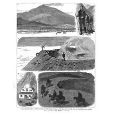 SICILY An Ascent of Mount Etna - Antique Print 1883