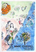 CHAGALL FOUR SEASONS, 1974 - original poster for the ceramic tile wall Chicago