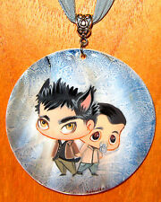 Russian UNIQUE GIFT hand painted TEEN WOLF pendant STEREK Derek & Baby Stiles