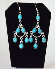 Silver Metal Turquoise Chandelier Hook Earring Fashion Jewelry from India