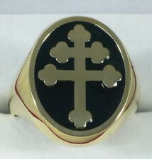 SOLID 14 K 585 YELLOW GOLD LORRAINE CROSS RING MAGNUM PI