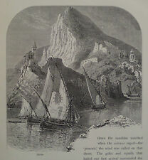 La Spezia Mediterranean Coast Italy Antique Engraving 1878