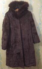 BILI Fur Garments Hooded Brown Real Fur Coat Sz 38 / M