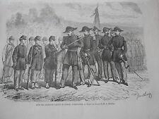 Gravure 1863 - Fête des Cadets du Canton de Zurich l'inspection