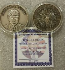 Antiqued Presidential Seal Donald Trump 1 oz .999 silver coin W/ COA limited