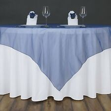"""NAVY Midnight BLUE Sheer Organza 90""""x90"""" SQUARE TABLE OVERLAY Topper TABLECLOTH"""