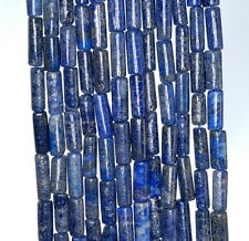 8X4-16X5MM  LAPIS LAZULI GEMSTONE BLUE ROUND TUBE LOOSE BEADS 14""