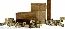 Antique DOUBLE SIX DOMINOES Ebony & Bone SET OF 28 in SLIDE-TOP BOX Instructions
