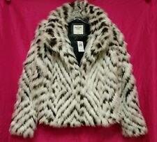 *NEW* NWT Abercrombie & Fitch Womens White Patterned Faux Fur Jacket Coat ~ M