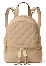 NEW Authentic Michael Kors Quilted Leather Rhea Zip XS Messenger Backpack Bag
