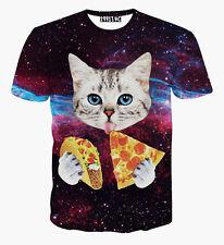 Women Men lovely Galaxy Little Cat eat 3D Print Short Sleeve T-shirt Tee Top L