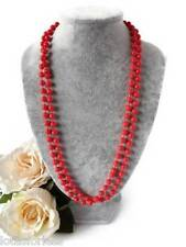 20's Flapper Style Long Rope Bead Necklace in Red Plastic Beads