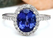 4.37CTW NATURAL TANZANITE AND DIAMOND RING 14K SOLID WHITE GOLD
