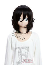 W-123 Attack On Titan Mikasa Schwarz Black kurz COSPLAY Perücke WIG Manga Anime