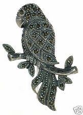 Solid 925 Sterling Silver Marcasite Parrot Pin Brooch '