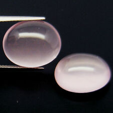 15.40 CT NATURAL! PAIR! PINK QUARTZ AFRICA QUARTZ OVAL CABOCHON15.40 CT NATUR...