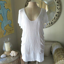 Victoria's Secret $59.5 White Mesh Linen Cover Up Ruched Tunic Dress. XS / Small