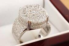 Custom Simulated Diamond .925 Silver Mens Ross Iced Pave Pinky Ring Size 9 Bling