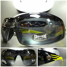 MOTORCYCLE BIKER RIDING DRIVING CHOPPERS Padded SUN GLASSES Black & Yellow Frame