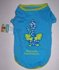 "NWT Martha Stewart Pets Blue Dog shirt ""Warning Dragon Breath"" Size Large"