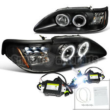 1994-1998 Ford Mustang LED Dual Halo Projector Headlights Black+6000K HID Kit