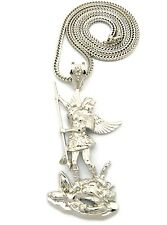 "NEW SAINT MICHAEL ARCHANGEL PENDANT WITH 36"" FRANCO CHAIN"