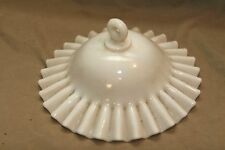 Antique Vintage White Milkglass Smoke Bell Fluted Edges Non Electric Lighting