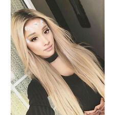 Custom Celebrity Natural Ariana Grande blonde LaceFront light roots ash full wig