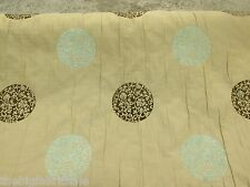 Designer Gold Faux Silk With Duck Egg Blue & Brown Motif Curtain Fabric SALE!