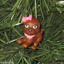 Chocolate Brown Puppy Dog Pink Bow/collar Custom Christmas Tree Holiday Ornament