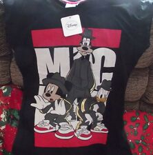 Señoras T Shirt Mickey mouse+goofy+donald como Raperas Nuevo Con Etiquetas Talle 18