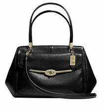 NWT COACH MADISON LEATHER MADELINE EAST WEST SATCHEL LIGHT GOLD BLACK F25166