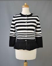 Karen Millen cardigan peplum striped black white Size 3 UK 12