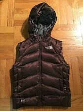 Women's The North Face 550 Hoodie Brown Puffer Down Vest XS