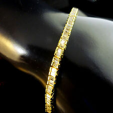 WOMENS LADIES NEW YELLOW GOLD FINISH 1 ROW PRINCESS CHANNEL SET TENNIS BRACELET