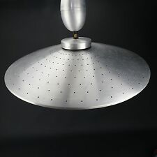 "Vintage MCM UFO pull down retractable Aluminum Lamp 21"" Flying Saucer Atomic"