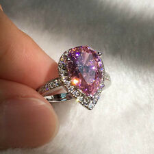 Noble Pear Cut Pink CZ Diamonique 925 Silver Filled Wedding heart Ring Size 6/L