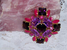 "Exquisite JOAN RIVERS JUBILANT Stone Brooch in Purples & Pinks NEW ""Xmas Sale"""