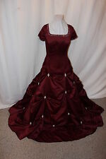 NWT Size 18 Burgundy satin short sleeved bridal gown wedding dress Lace up back