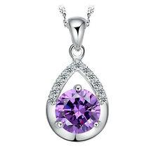 Womens Solid 925 Silver Necklace Amethyst Crystal Pendant Jewelry Gift