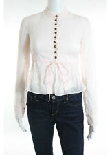 CHLOE Rose Pale Pink Cotton Embroidered Sheer Button Down Blouse Top Sz IT 36